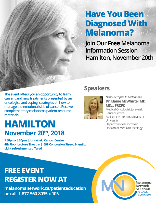 Event Poster for Melanoma Information Session Hamilton