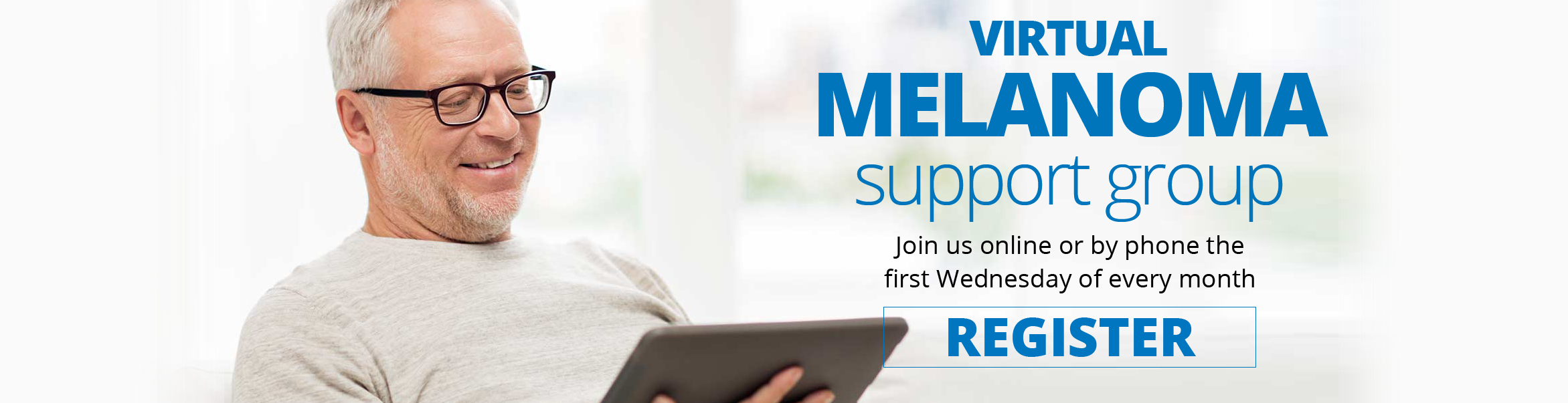 Banner promoting our upcoming September 2nd Virtual Melanoma Support Group click on it to learn more