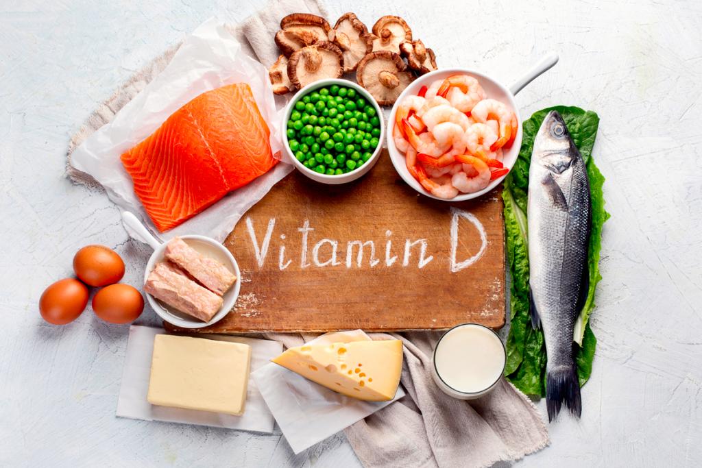 Image of vitamin d rich foods, shrimp, mushrooms, yogersts