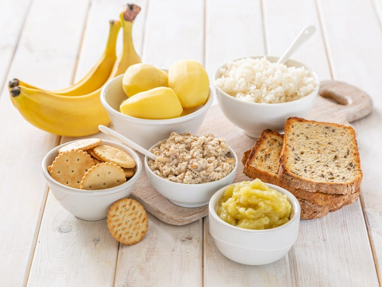 images of bananas, applesauce, rice, and toast which is part of the BRAT Diet